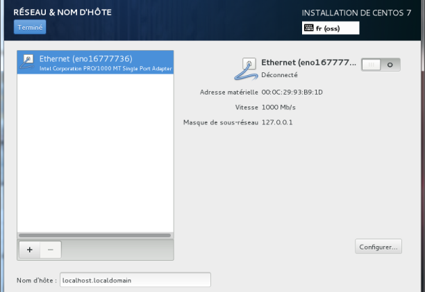 Options de la carte réseau