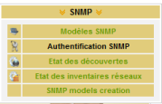 Menu SNMP\Authentification SNMP